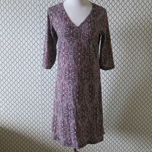 PrAna 3/4 Sleeve Paisley Print Surplice Dress